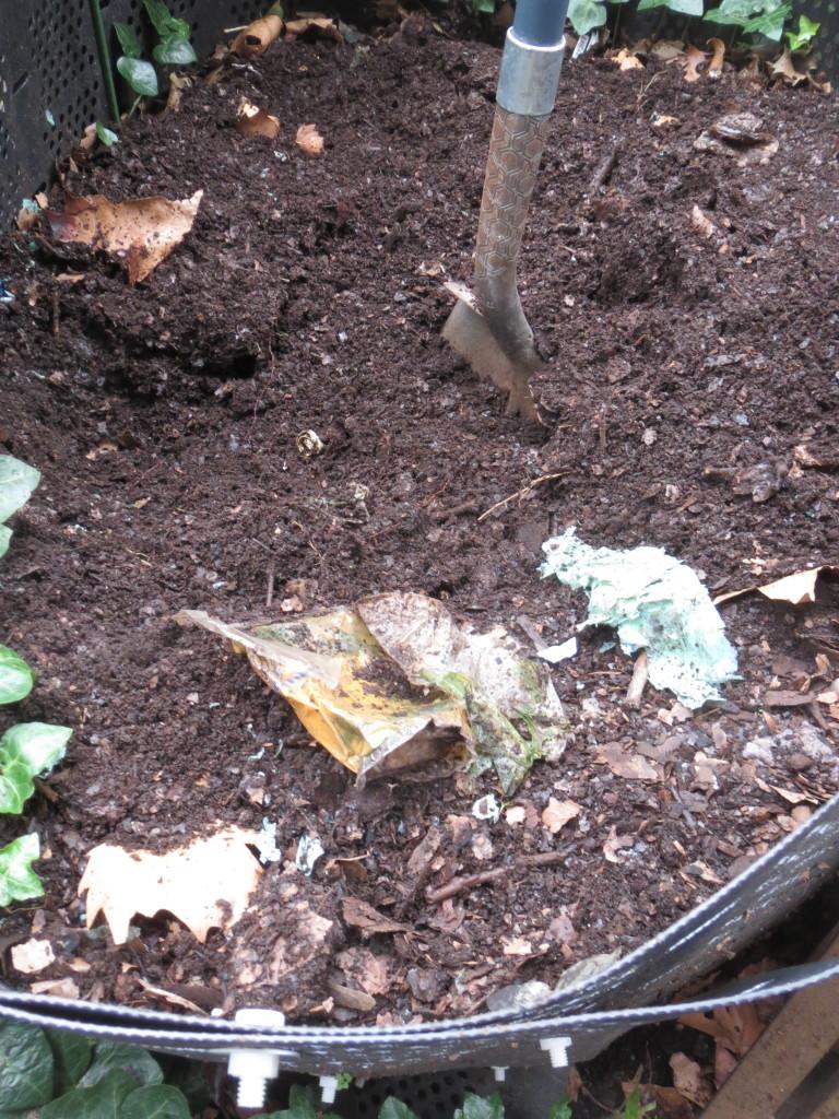 plastics in compost bin